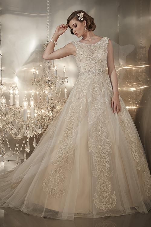 Balletts Bridal - 21736 - Wedding Gown by Jacquelin Bridals Canada - A-Line Satin Gown With Lace Overlay. Bateau Neckline, Capped Sleeves, And V-Back.