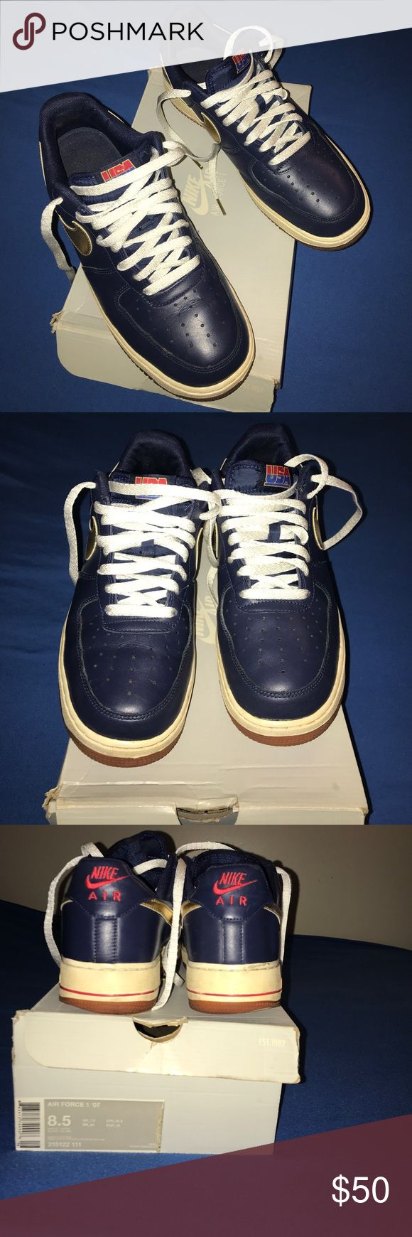 Nike Olympic Air Force ones Classic Olympic uptown's. Comes with box but not original.Fair condition. White shoe laces with gold tassels. Navy blue/gold/red/white,Everything is in the pictures but before purchasing please ask questions. Thank you. Nike Shoes Sneakers