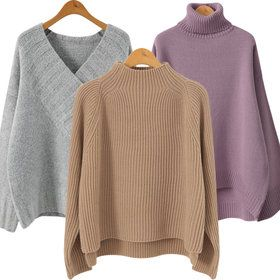 Gmarket - Loose fit knit top / sweater / mock neck / solid color...