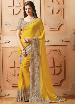 Beautiful Yellow Embroidery Work Georgette Designer Sarees http://www.angelnx.com/Sarees/Designer-Sarees