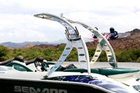 Big Air Wave wakeboard tower // boat tower // universal wakeboard tower // wakeboard towers for sale // boat wakeboard tower // boat towers for sale // cheap wakeboard tower // folding wakeboard tower // collapsible wakeboard tower // aluminum wakeboard tower //