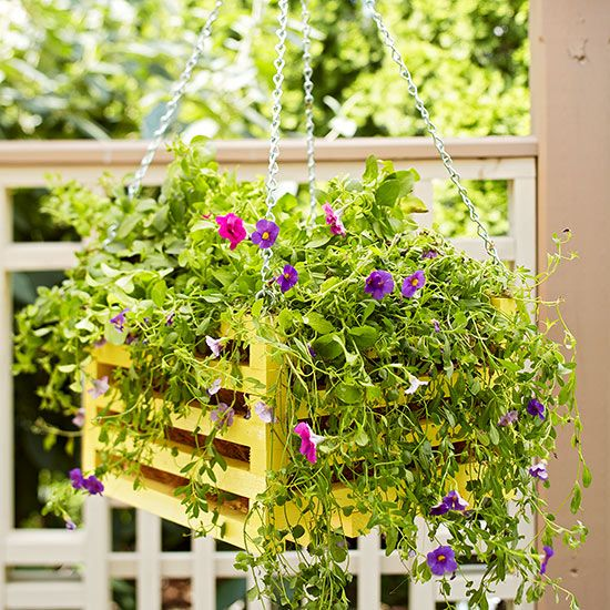 Hanging Wooden Basket Container Garden - excellent tutorial on how to build & plant this container.
