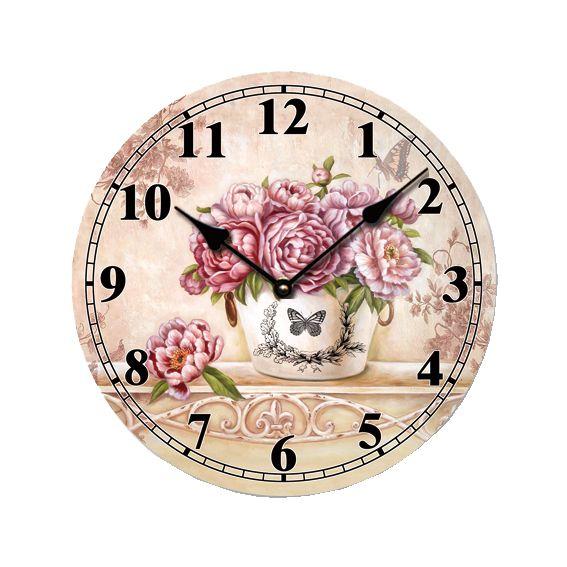 Ρολόι Τοίχου Παιώνιες 33εκ,  Τιμή: €6,20 http://www.lovedeco.gr/p.Roloi-Toichou-Paionies-33ek.844630.html
