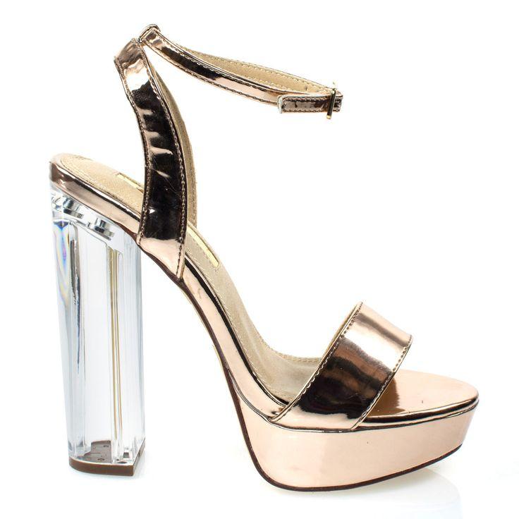 snyder1 by Liliana, Rose Gold Perspex block high heel platform dress sandal w adjustable ankle strap
