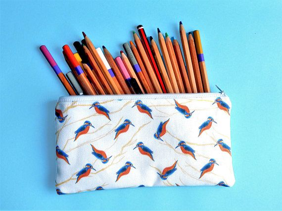 Kingfisher pencil case  bird lover gift  kingfisher zip