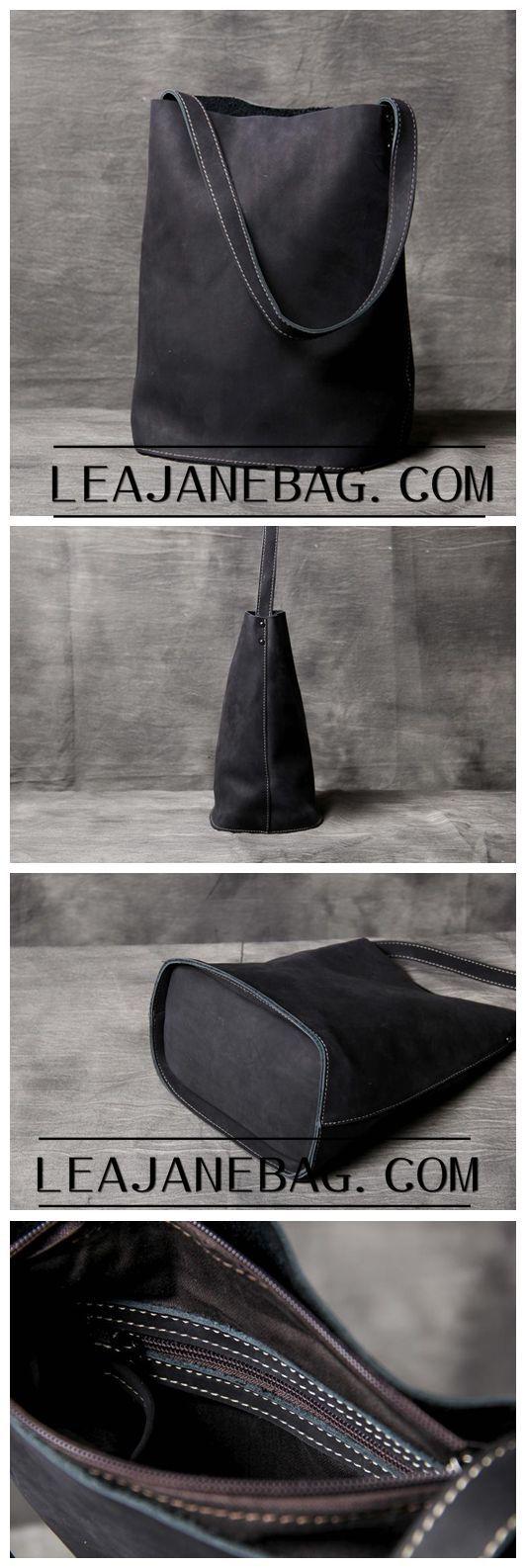 Leather Tote Bag, Womens Gift, Black Leather Bag, Leather Shoulder Bag OAK-036