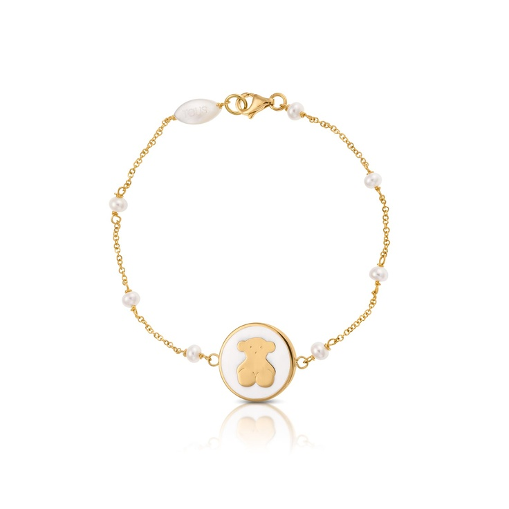 18kt yellow gold TOUS Whim bracelet with pearls and enamel