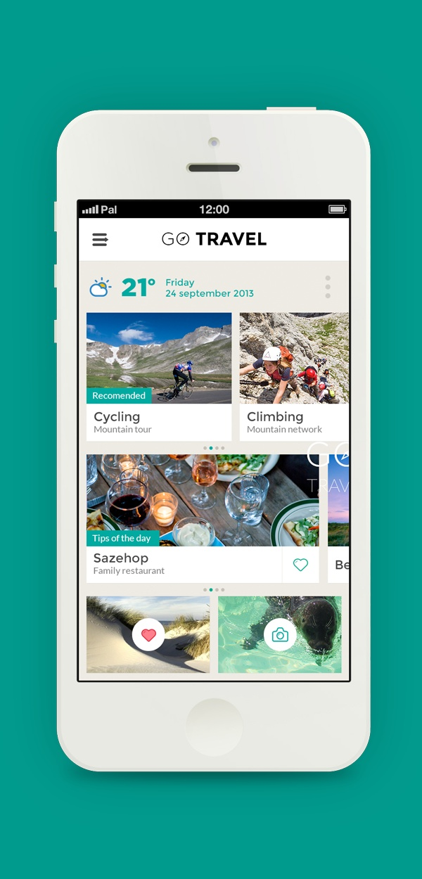 GO TRAVEL - Travel app concept by Pal Blanke, via Behance #ux #design
