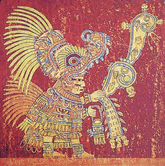 Teotihuacan mural sacerdote echando semillas tinta roja for Aztec mural painting