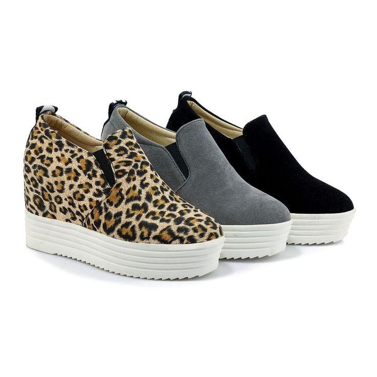 Leopard Plus Size 4-11 Women Ladies Shoes Hidden Wedge Platform Oxfords 3 Colors
