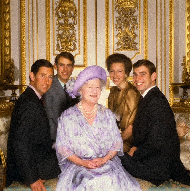 1985 - Prince Charles, Prince Edward, Princess Anne, and Prince Andrew surround their grandmother Her Majesty Queen Mother Elizabeth
