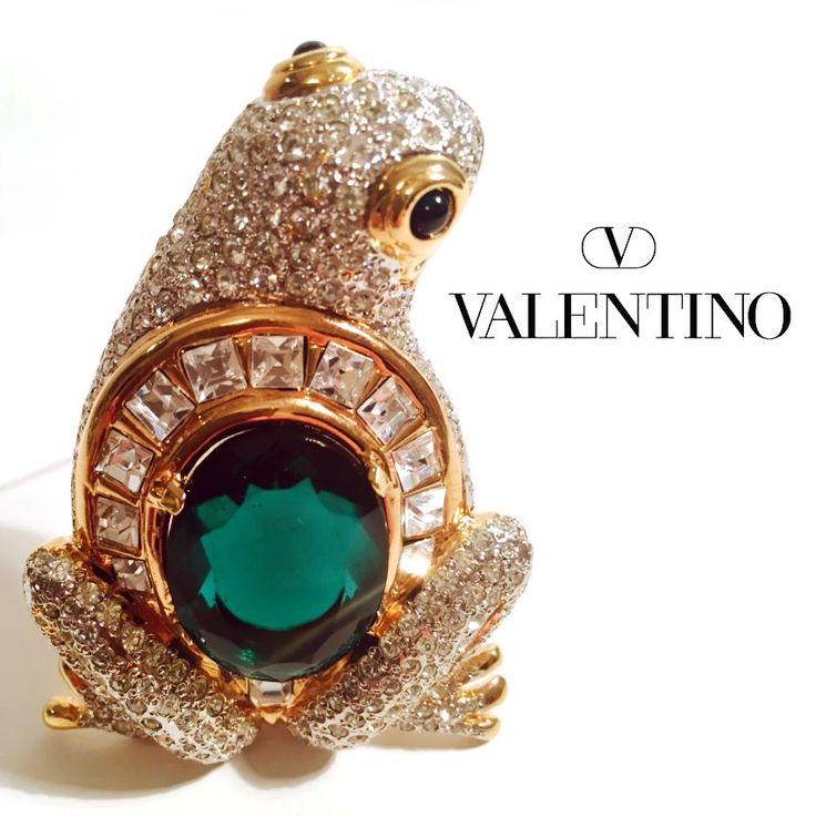 Valentino Vintage Frog Brooch - Pin // Green and White Stones* - Gold Tone Metal #ValentinoGaravani