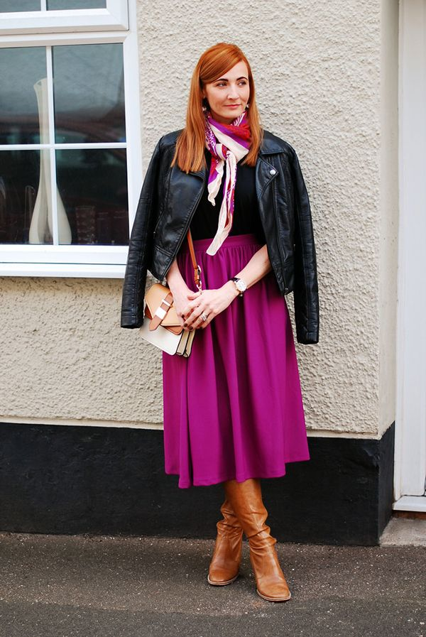 Purple full skirt and rust brown boots