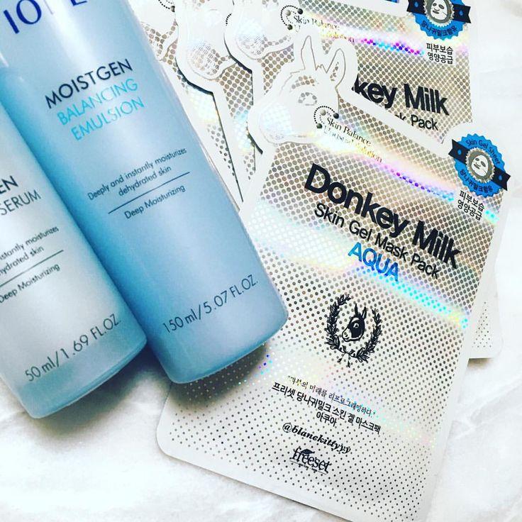 💧Freeset's Donkey Milk Aqua Sheetmask 💧Iope's Moistgen Serum 💧Iope's Moistgen Emulsion