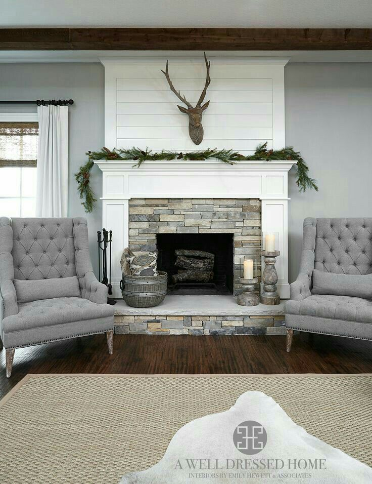 Aledo Project – TV Room @ A Well Dressed Home - shiplap fireplace accent  wall. Love the gray accent chairs, stone fireplace and soft gray walls.