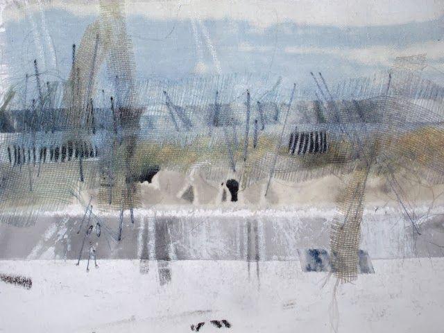Sandra Meech, textiles sample, landscape flooded, threads