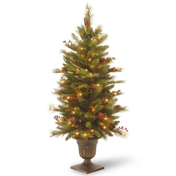 National Tree Company 4 ft. Artificial Long Needle Natural Pine Cone Entrance Christmas Tree, Green