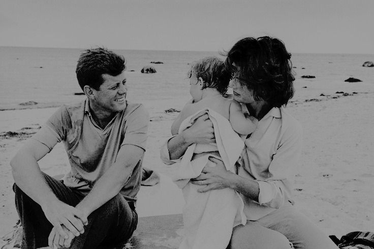 John, Jackie, and Caroline Kennedy at the beach in Hyannis Port.