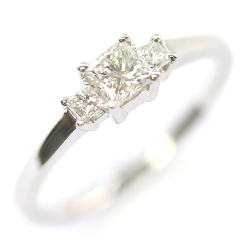 Platinum Princess Cut Diamond Trilogy Engagement Ring, Form Bespoke Jewellers, Leeds, Yorkshire, UK