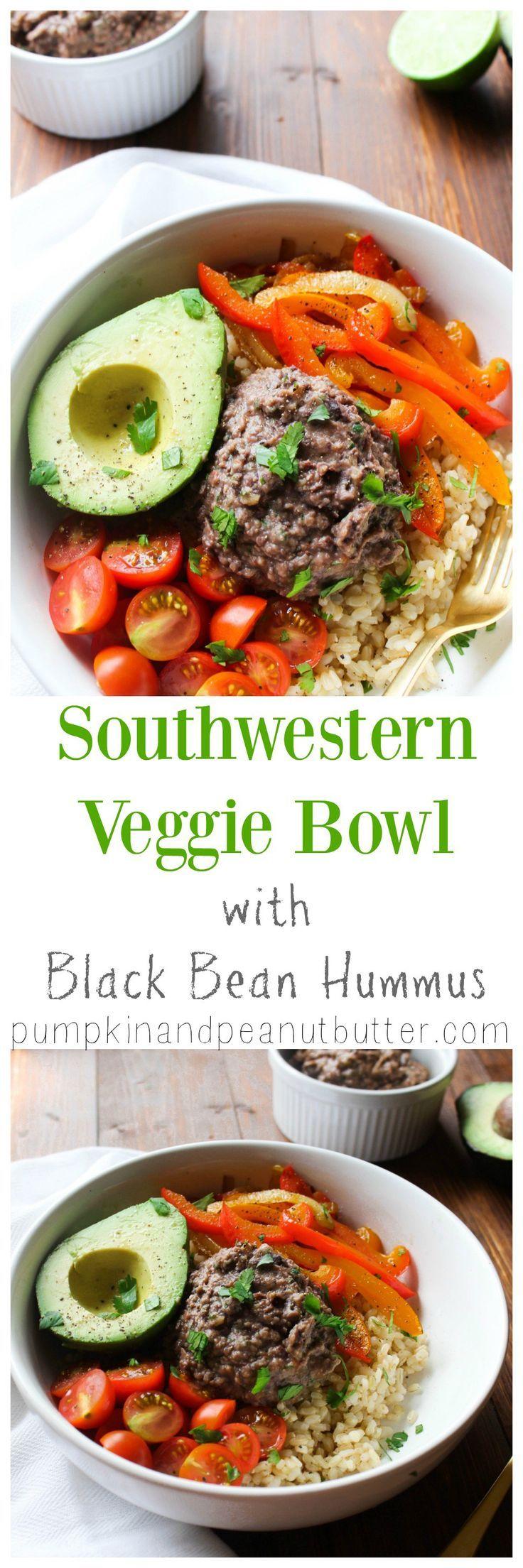 Southwestern Veggie Bowl with Black Bean Hummus {vegan, gluten free} // pumpkin & peanut butter