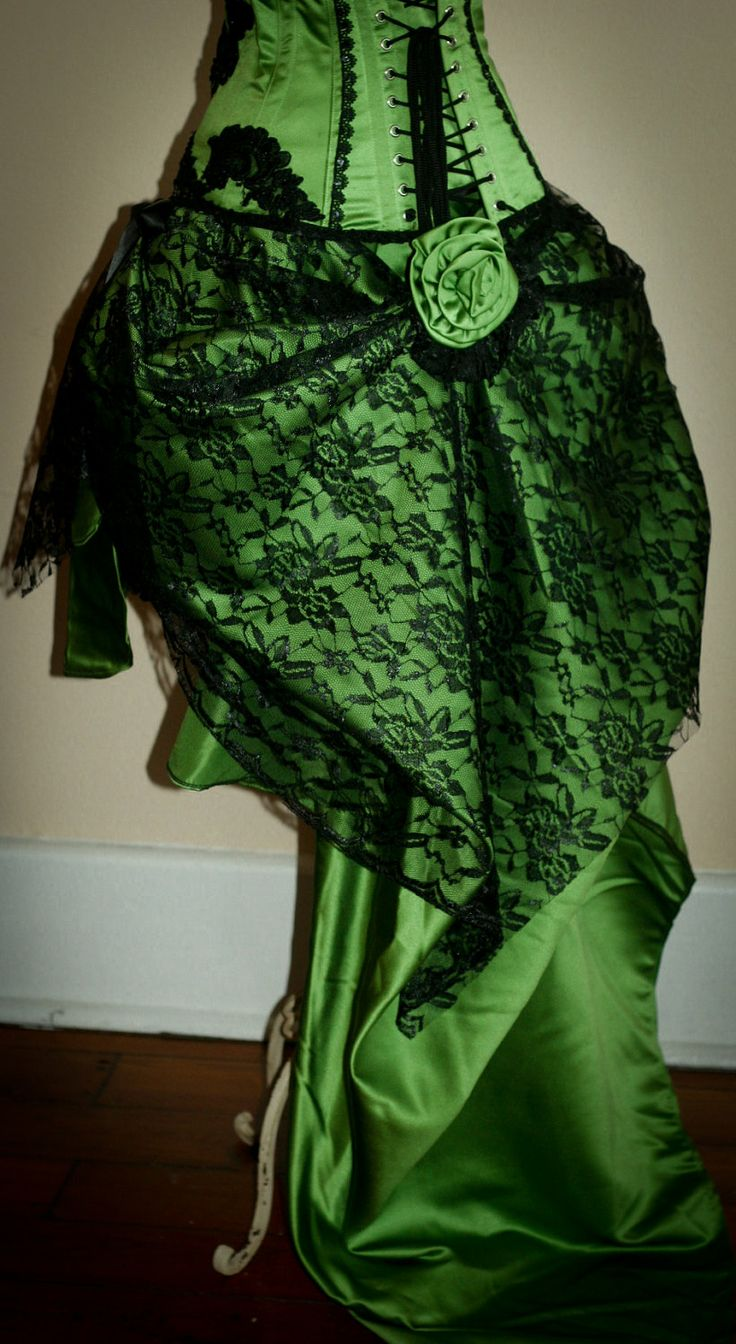 GREEN GYPSY - Steampunk Green Black Burlesque Corset Costume Holiday Party Dress. $295.00, via Etsy.