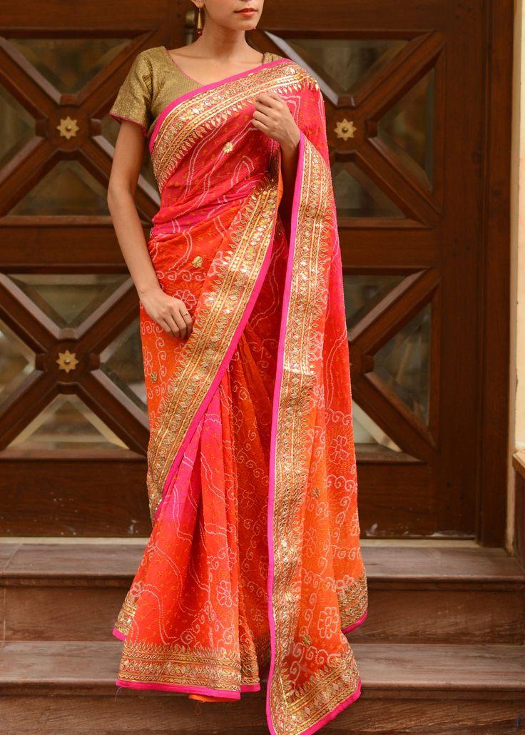 Pink n Orange Shaded Georgette Saree