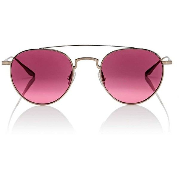 Barton Perreira Women's Vashon Sunglasses ($490) ❤ liked on Polyvore featuring accessories, eyewear, sunglasses, rose, clear lens aviators, pink lens sunglasses, clear lens glasses, barton perreira sunglasses and clear aviators