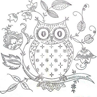 Sweet free owl embroidery pattern