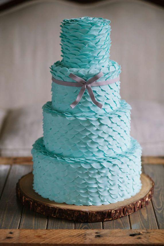Tiers of Tiffany Blue Petals Wedding Cake