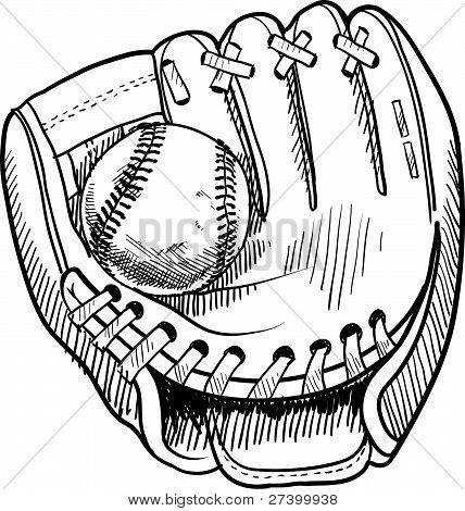 Bosquejo del guante de béisbol. Para pintar, colorear.