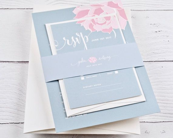Wedding Invitation in light blue with a blush and pink floral feature. Can be customised to your wedding colour palette (any colour scheme can be applied).  ♥ WHATS INCLUDED ♥  ○ Wedding invitation with Outer envelope ○ 2 x Reply cards and 1 x Reply envelope ○ Enclosure card (ie: for gifts, accommodation, transport etc) ○ Co-ordinating thick paper bellyband with peel+seal closure  ○ Digitally printed on heavyweight 352gsm / 130lb Mohawk Superfine stock. ○ 3 rounds of digital proofs ○ All...