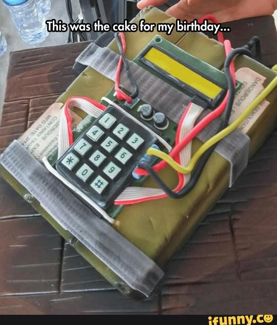Counter Strike bomb cake. Quick defuse it with a fork.