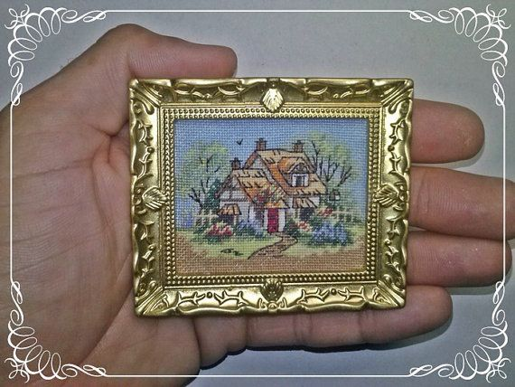 Cottage with thatched roof Cross Stitch by MiniaturasCubells