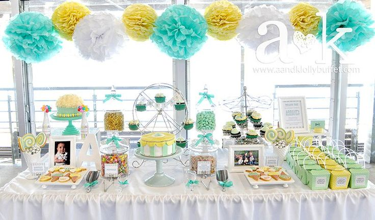 Adrian's Pastel Green & Yellow Carnival Themed Dessert Buffet by A&K.