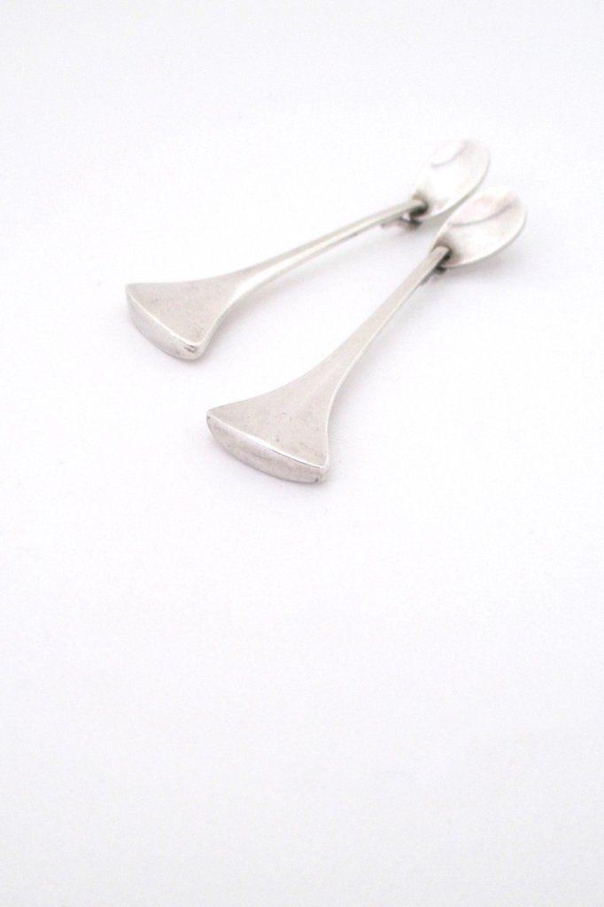 Hans Hansen, Denmark - vintage long silver drop earrings