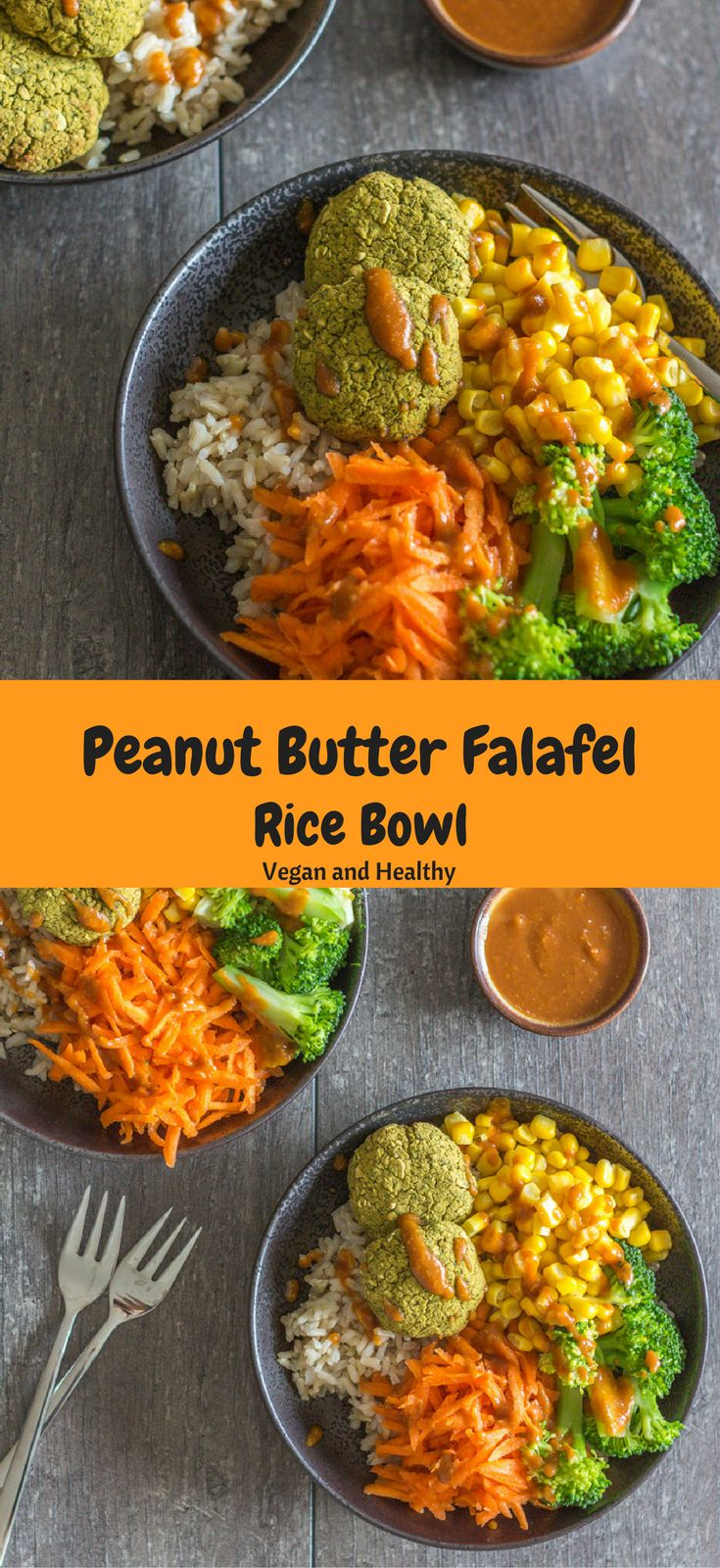 An amazing Peanut Butter Falafel Rice Bowl with loads of greens, tasty falafels, and an addicting peanut butter dressing. A healthy, satisfying, and delicious vegan meal. Healthy vegan recipes|veggie burger| healthy| vegan| dinner| lunch| vegan dinner recipes| recipes| vegetarian| The Mostly Healthy