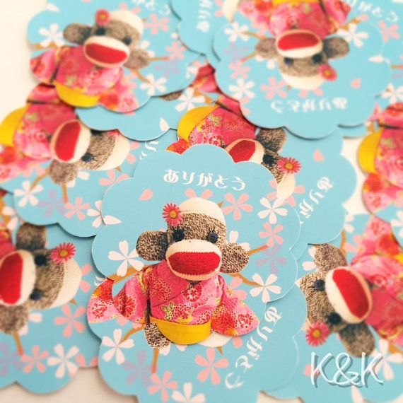 Sock Monkey Stickers  Set of 20 stickers by K&K Crafts and Designs