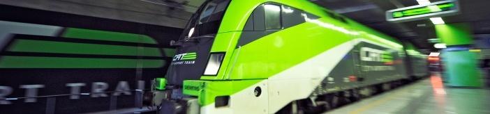 Vienna airport train. Zuganzeige CAT City Airport Train