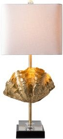 Gold Adriatic Shell Accent Lamp-light on