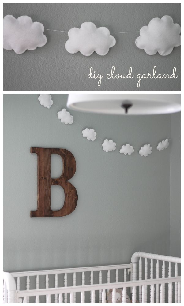 DIY Cloud Garland Tutorial // I also really like the whole scheme of this nursery. Simple and soothing.