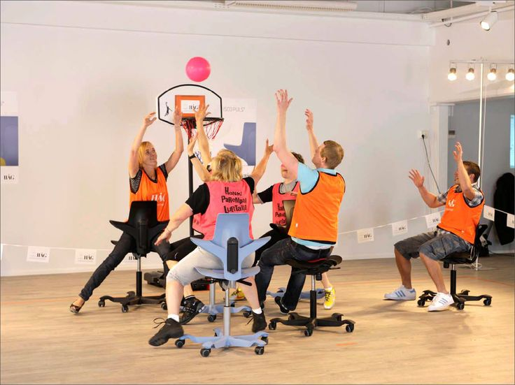 It's never a bad idea to have a basketball match on HÅG Capisco Puls!! #launch #creative #fun #office
