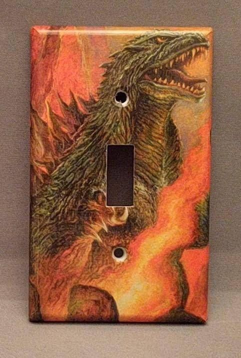Godzilla comic book decoupage light switch cover