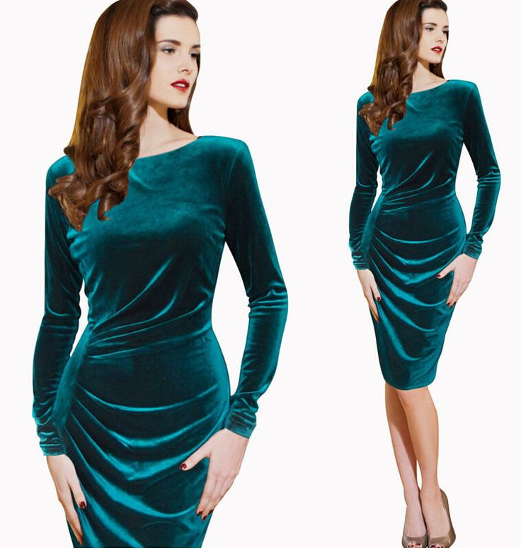 Women Winter Long Sleeve Velvet Ruched Office Party Stretch Bodycon Fitted Dress #none #Sheath #WeartoWork