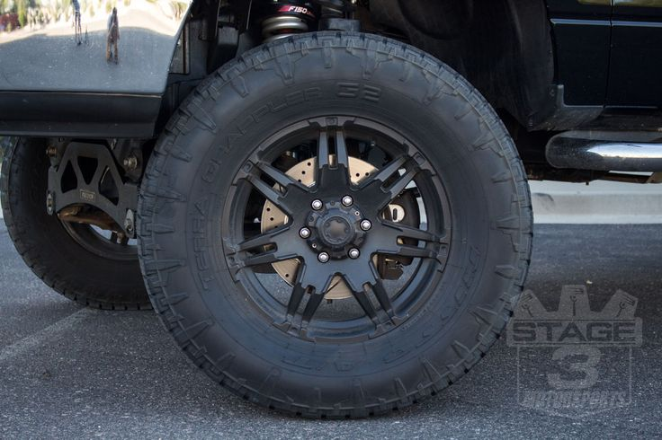 The pads on this thing were nearly down to nothing and at least one rotor was warped. Stopping power is always questionable on a lifted truck with big tires, but it gets even more sketchy with worn-out hardware. Fixing the issues was a 2004-2008 F150 Z36 Complete Brake Kit. Power Stops Kit comes with a full set of four brake rotors and a full set of Z36 Truck and Tow Carbon-Ceramic Brake Pads to provide a total overhaul of all your truck's wearable components.