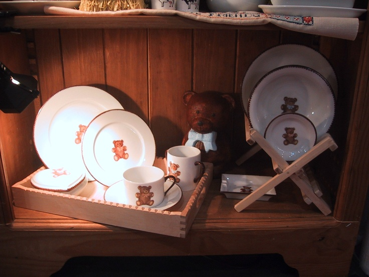 hand painted tender collection. porcelain teddy bear collection, designer Patricia Deroubaix, hand painted in Limoges porcelain. cereal bowl/ all shapes on special orders