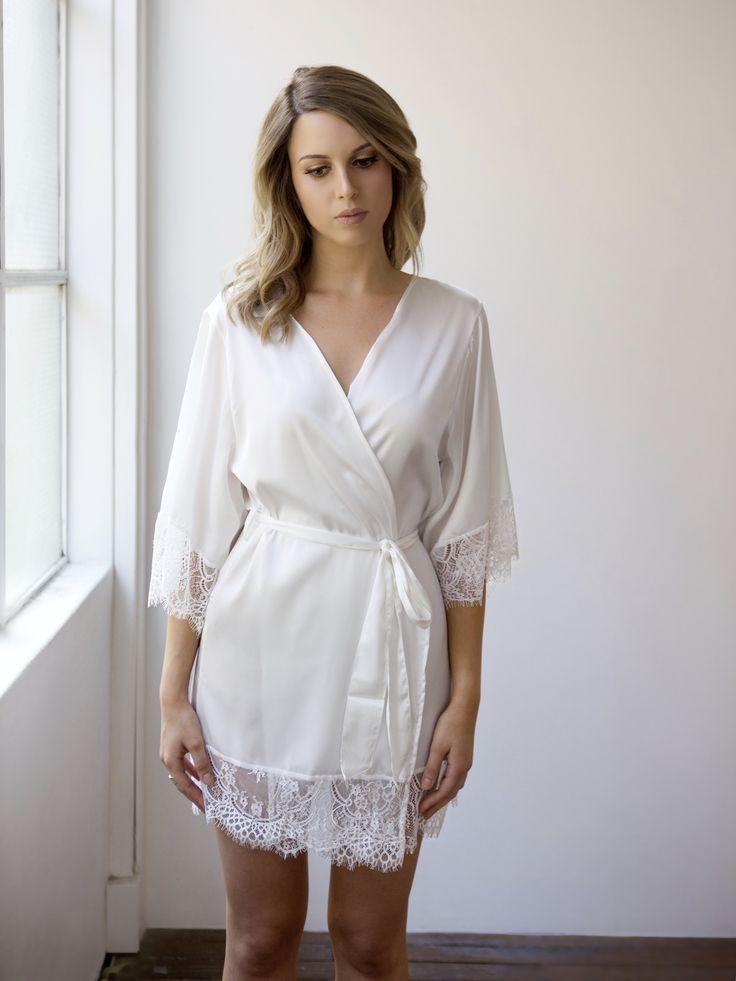 Dreamy white lace trim silky bridal robe