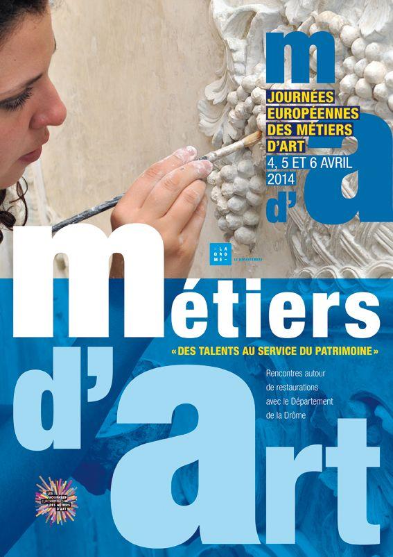 Affiche Journées Européennes des métiers d'art format 40 x 60 cm Conservation départementale du patrimoine de la Drôme  Graphiste : Olivier Umecker