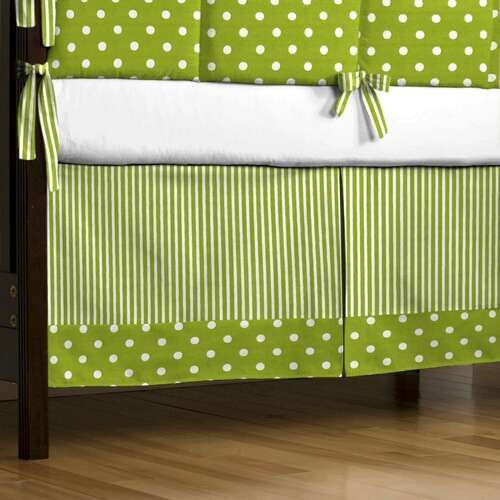 lime and white dots and stripes crib skirt box pleat with