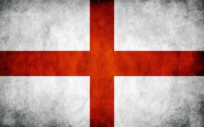 English flag, 4k, grunge, flag of England, flags, England flag