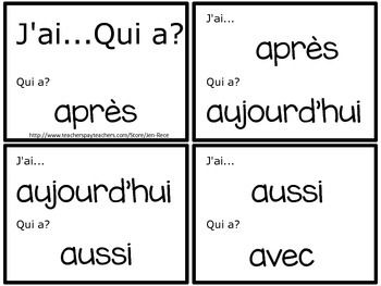 French: I Have, Who Has? Sight Word Card Game {J'ai...Qui